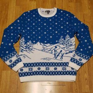 ASOS teal/white novelty ski print sweater sz M